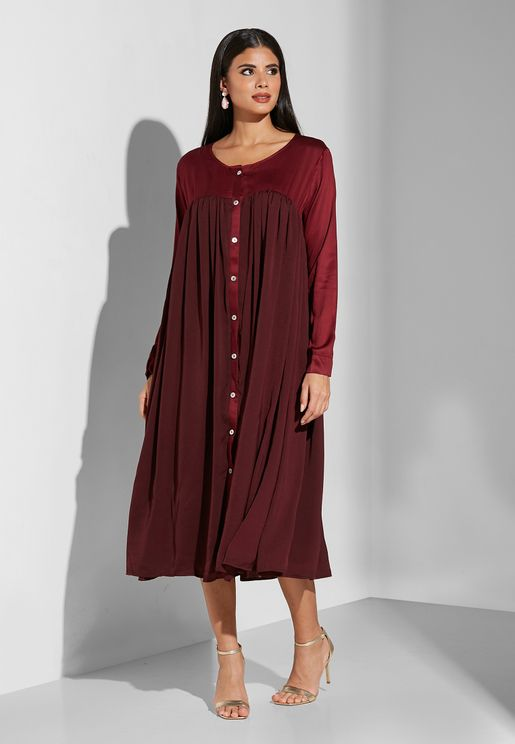 Front Buttoned Mock Dress