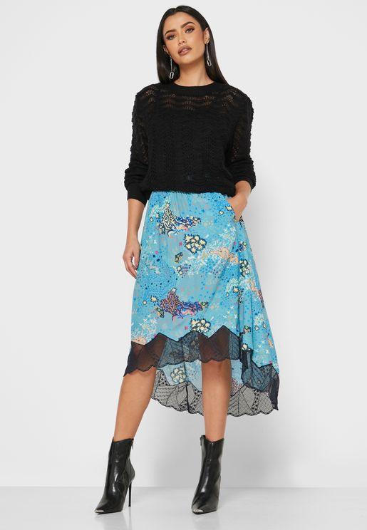 Joslin Printed Asymmetric Hem Skirt