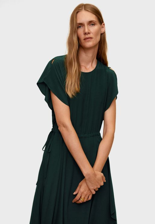Split Sleeve Waterfall Trim Dress