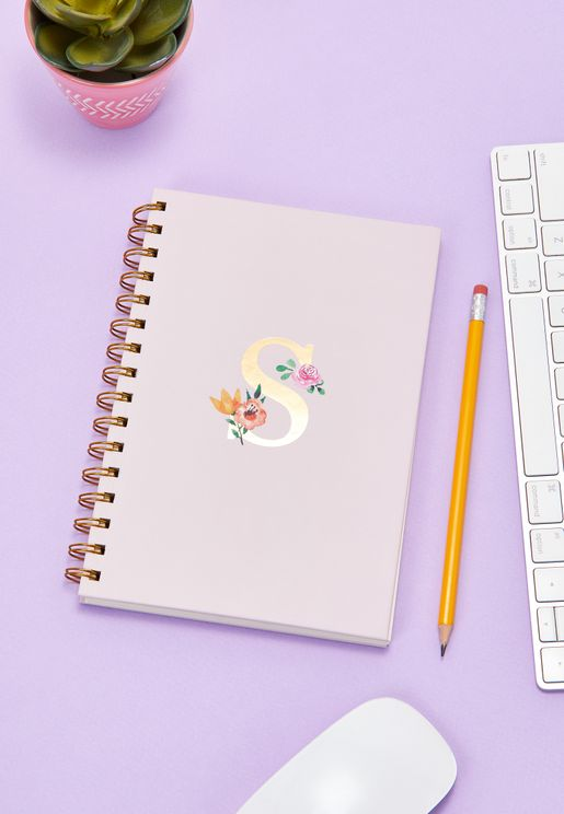 Initial S Floral Notebook