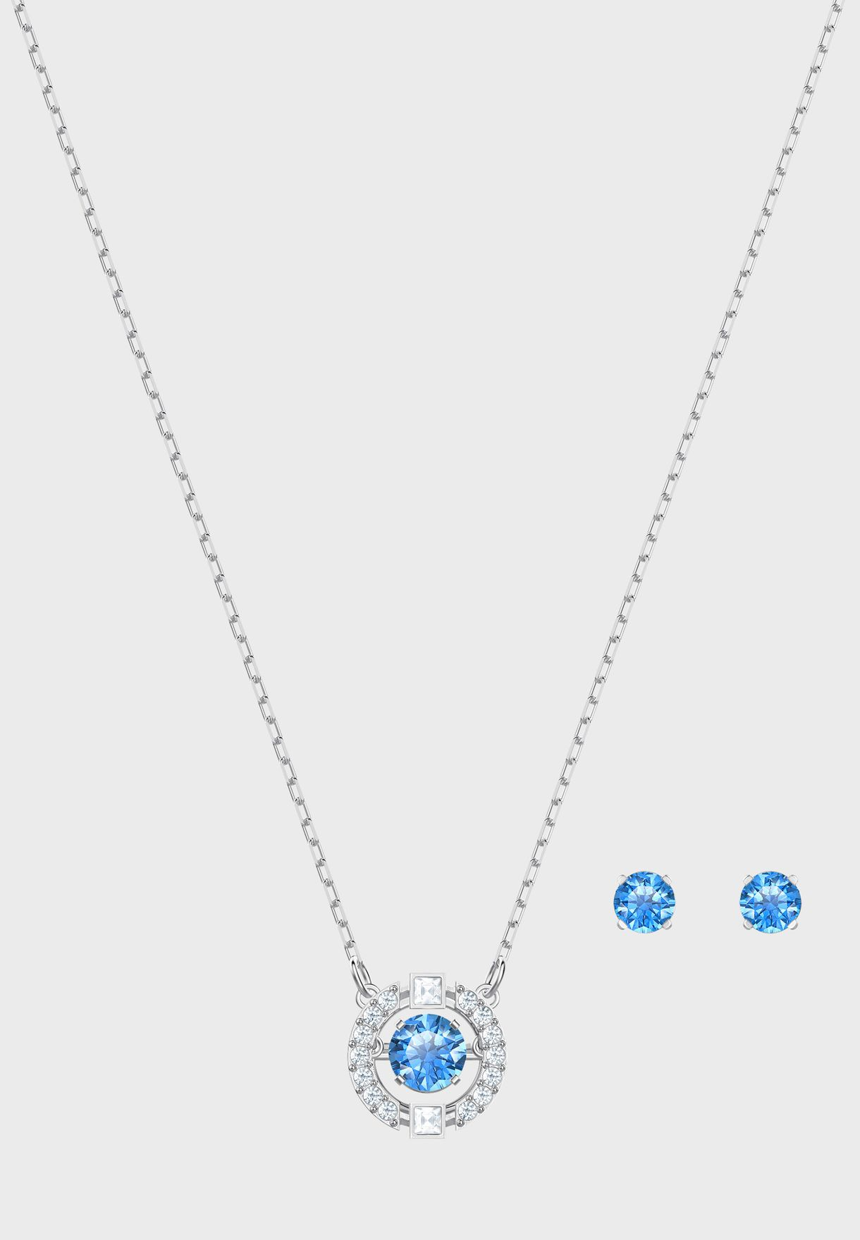 Sparkling Round Pendent Necklace+Earrings Set