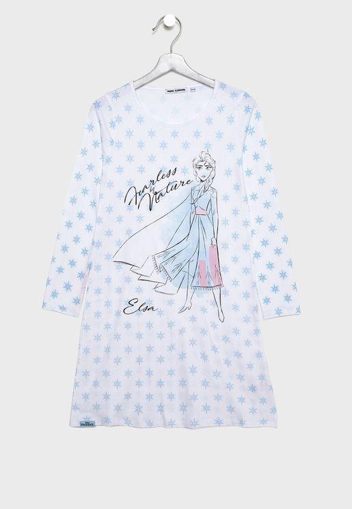 قميص نوم مزين بطباعة جرافيك