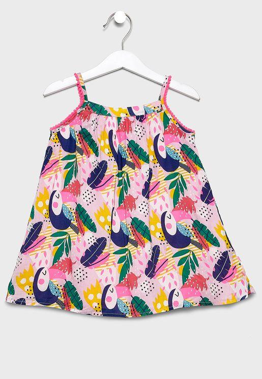 فستان بطباعة استوائية