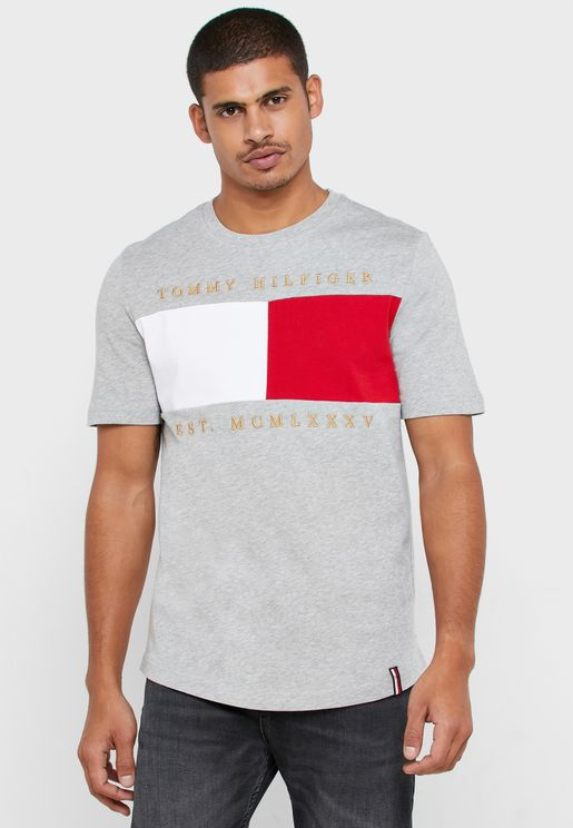 Flag Embroidery Crew Neck T-shirt