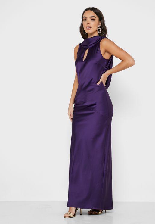 Cowl Neck Front Keyhole Dress