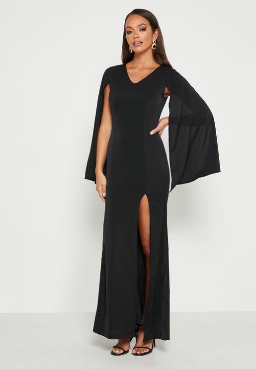 فستان باكمام كاب