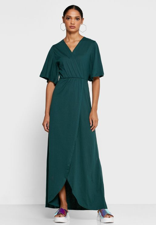 Wrap Front Flare Sleeve Maxi Dress