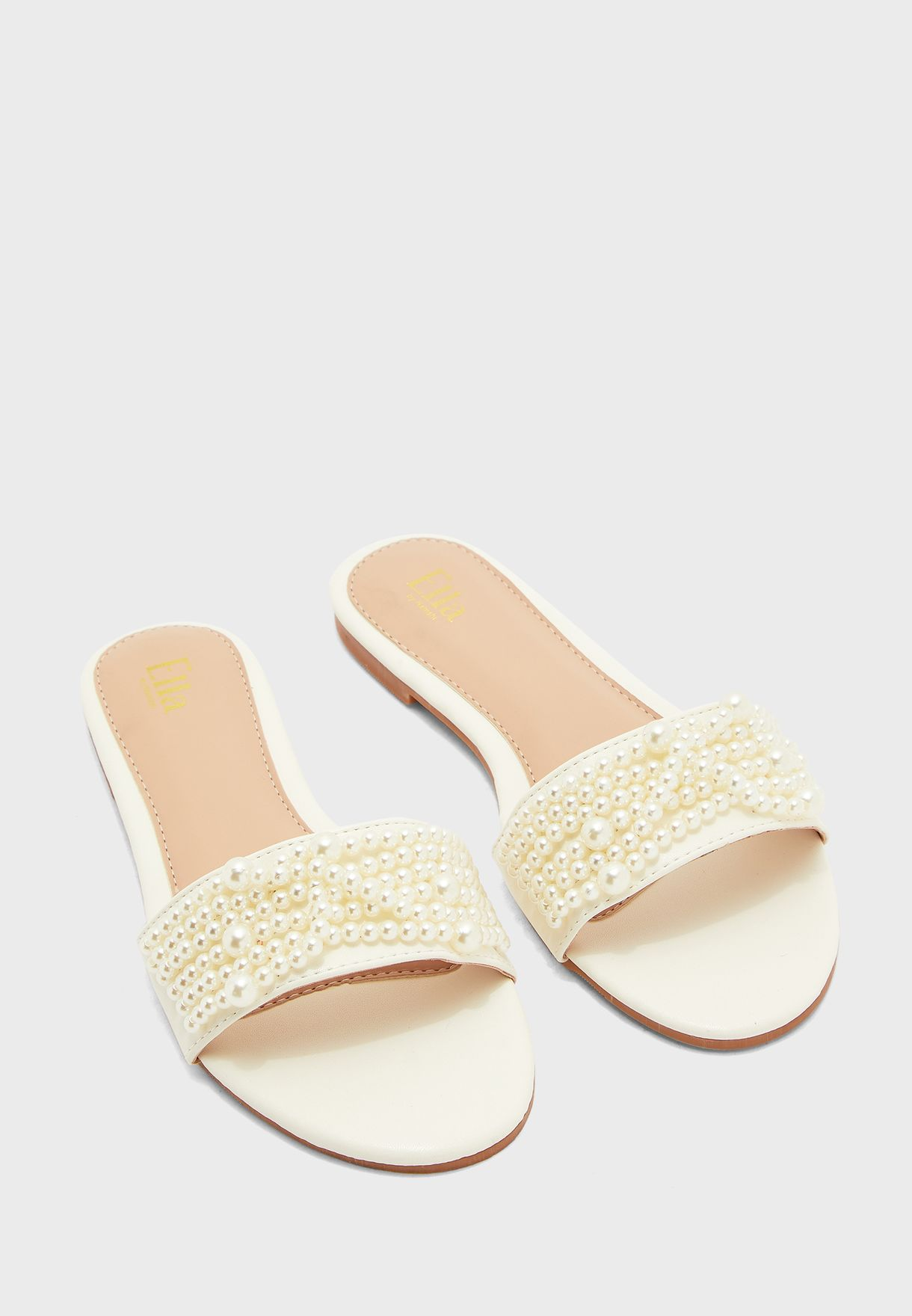 Round Toe Pearl Detail Flat Sandal