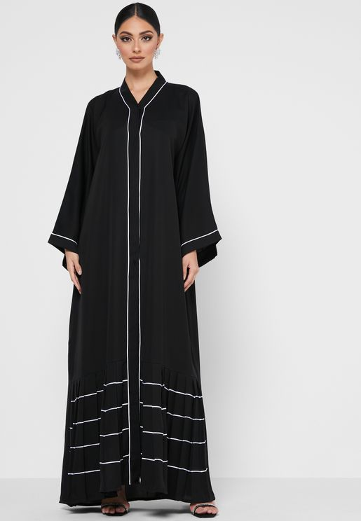 Contrast Piping Pleated Trim Abaya