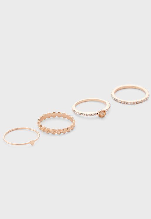 Embellished Set Of 4 Rings