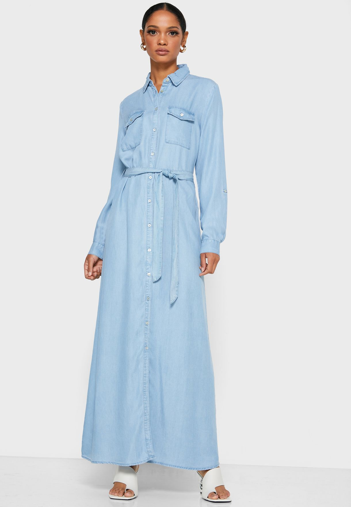 Belted Denim Maxi Shirt Dress