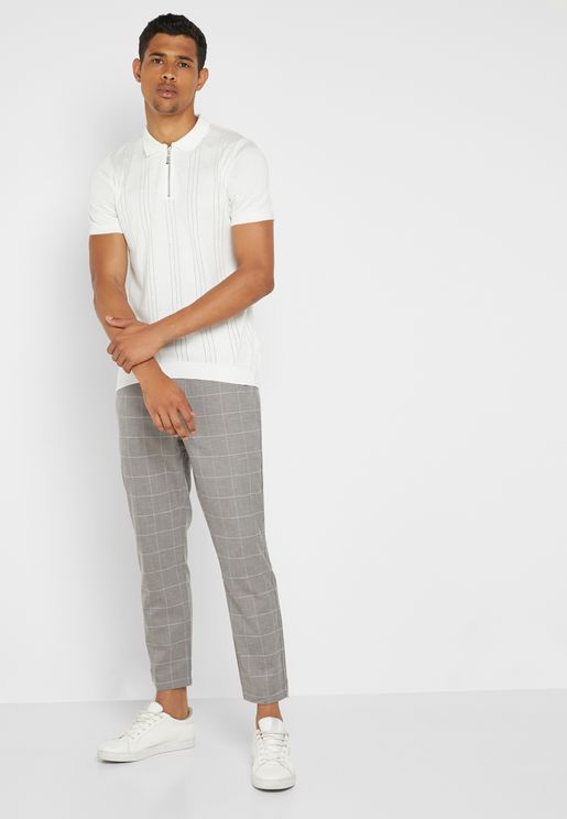 Windowpane Relaxed Trousers