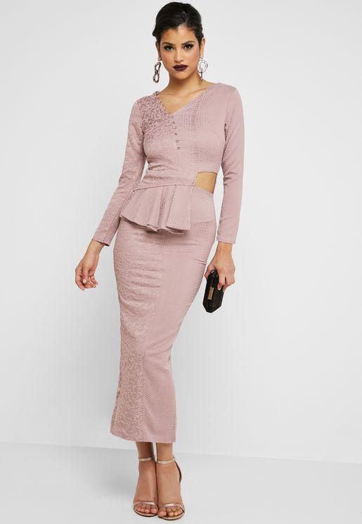 Side Cutout Embossed Dress