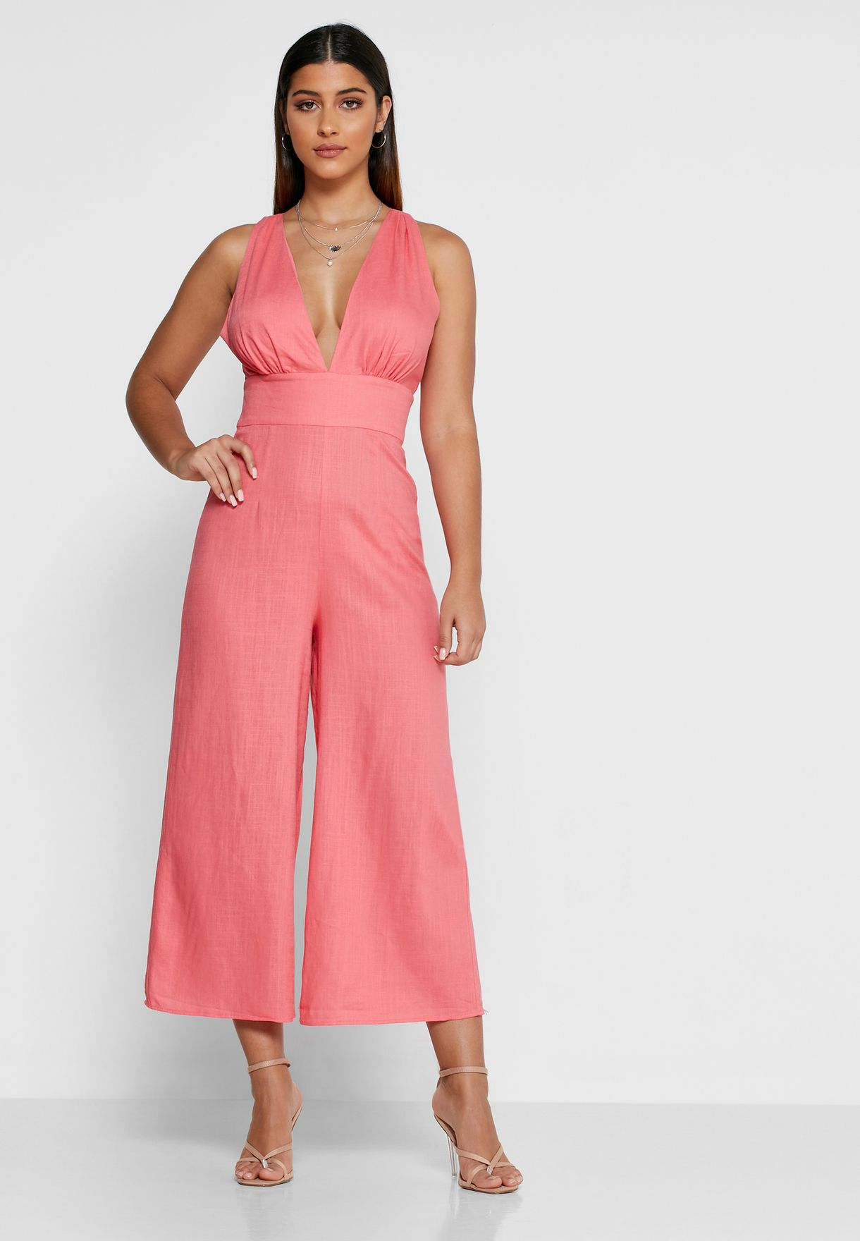 Sally Plunge Cropped Jumpsuit