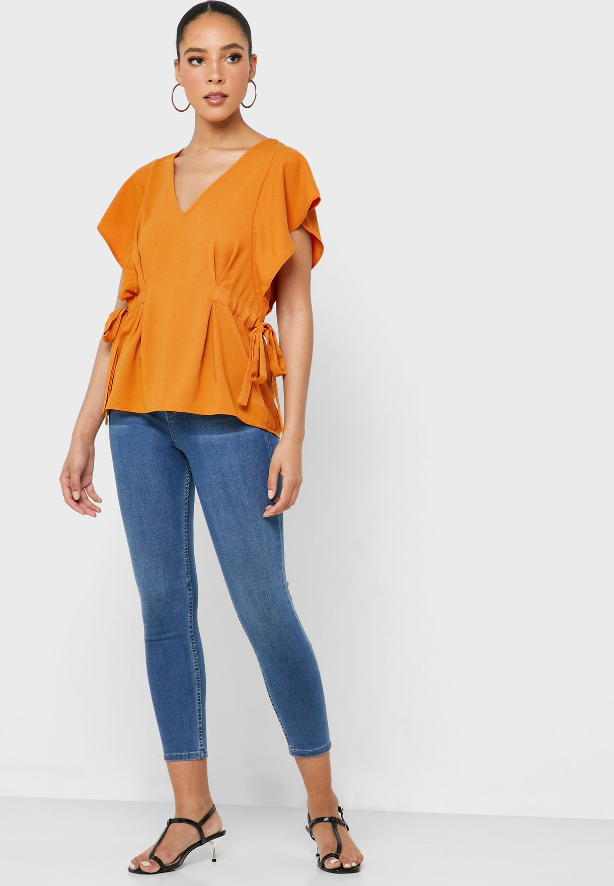 V-Neck Ruffle Sleeve Top