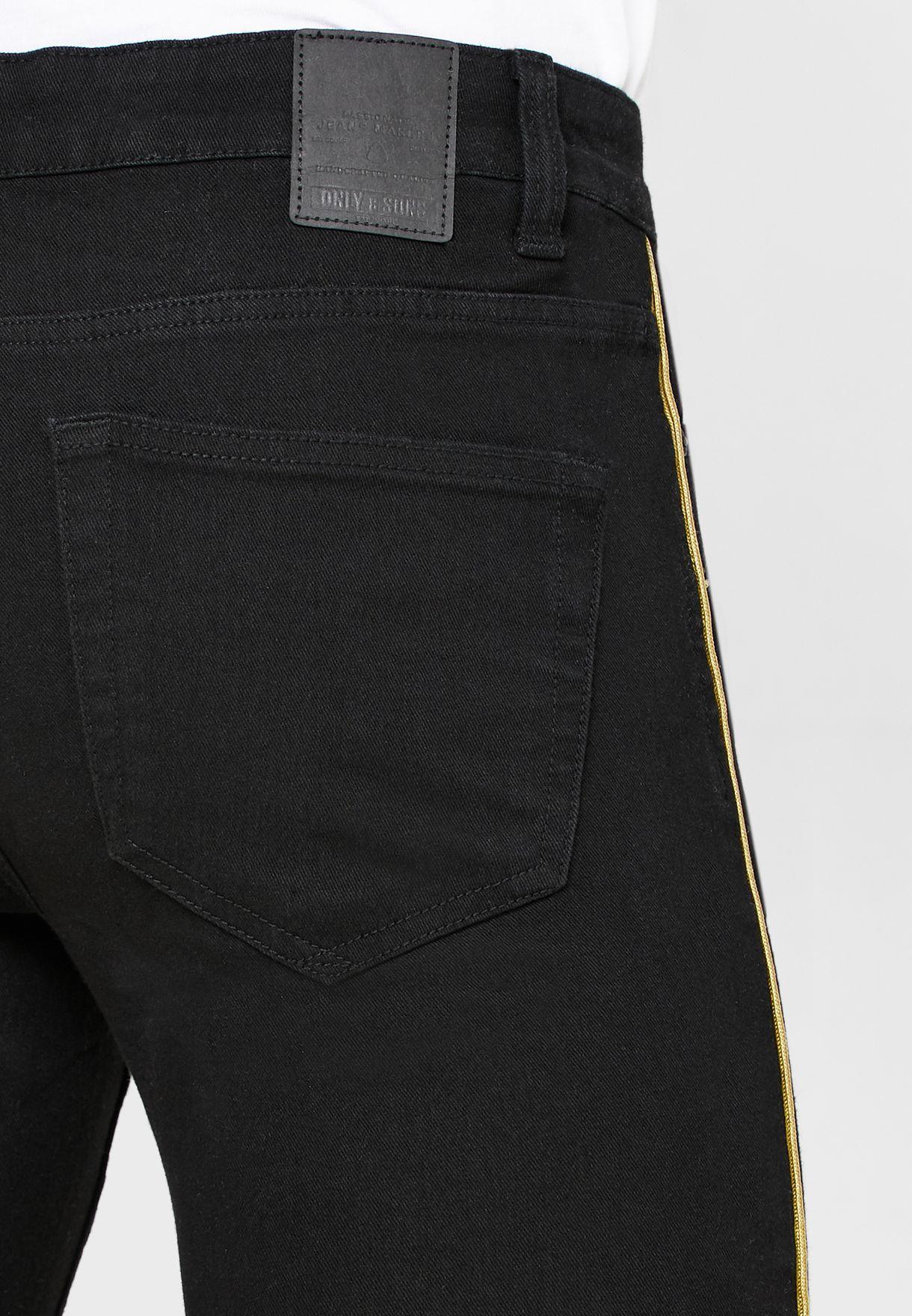 Side Stripe Rinse Wash Slim Fit Jeans