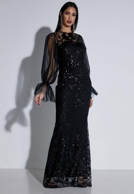 فستان مكسي مزين بالترتر مع اكمام شفافة