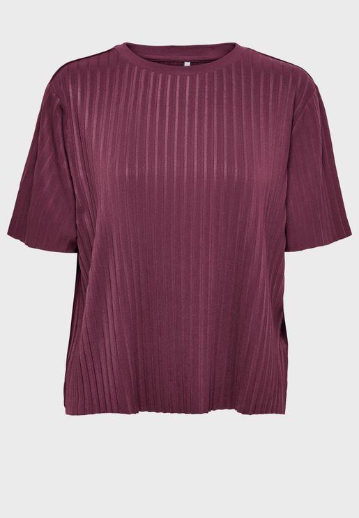 Short Sleeve Plisse Top