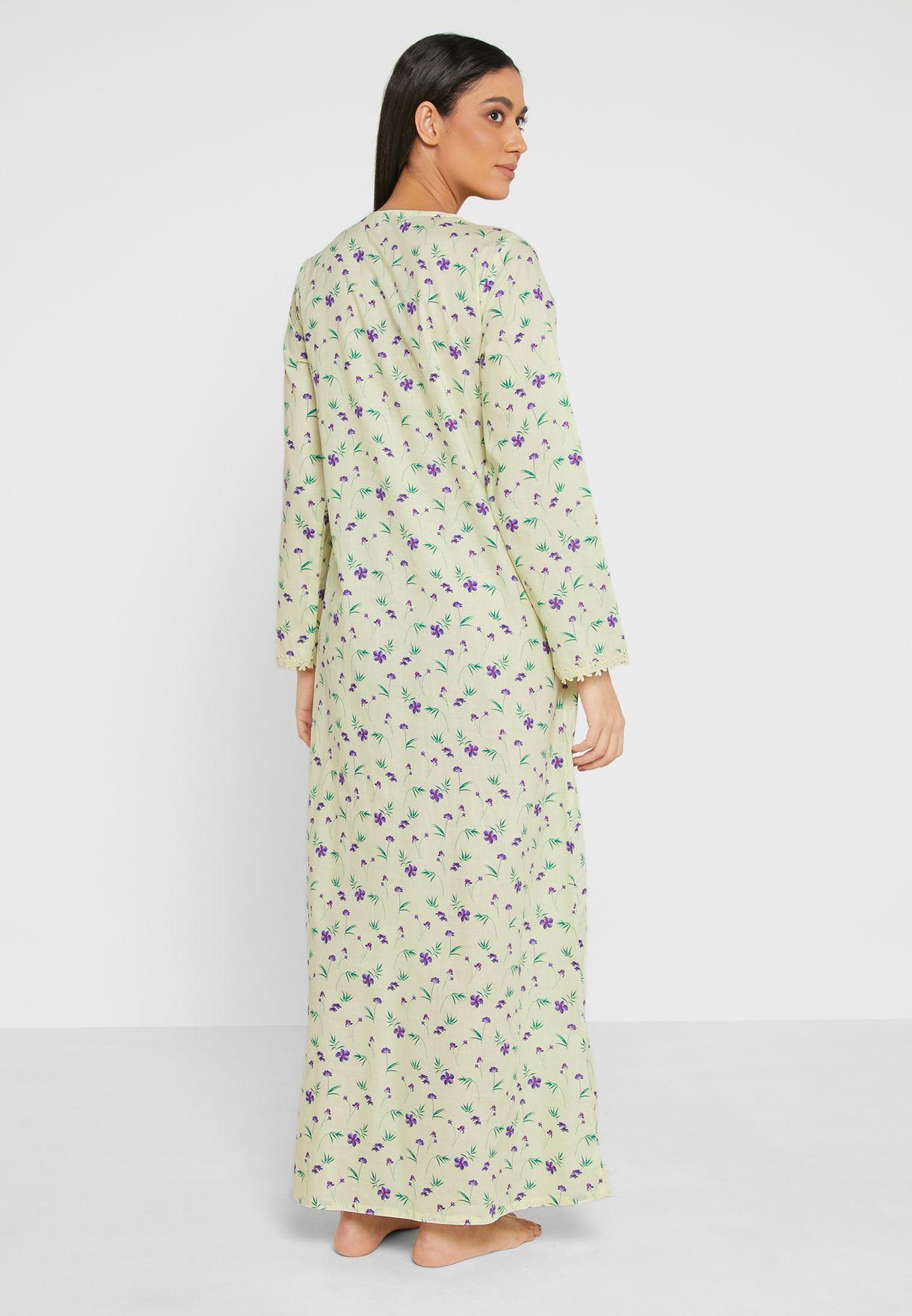 Full Sleeves Printed Cotton Nightdress
