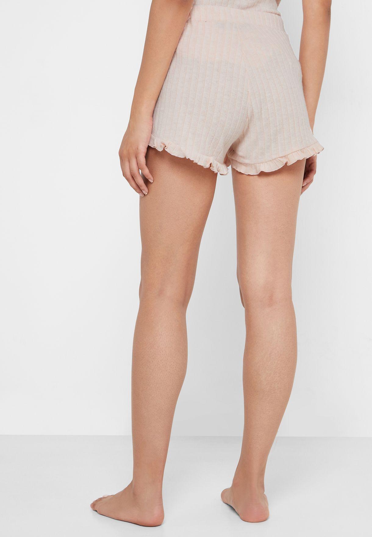 Tie Waist Ribbed Shorts