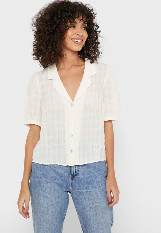 Textured Button Front Shirt