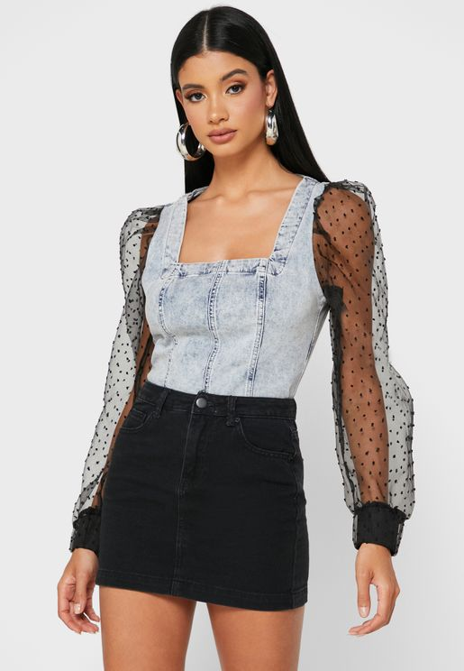 Sheer Sleeve Denim Top