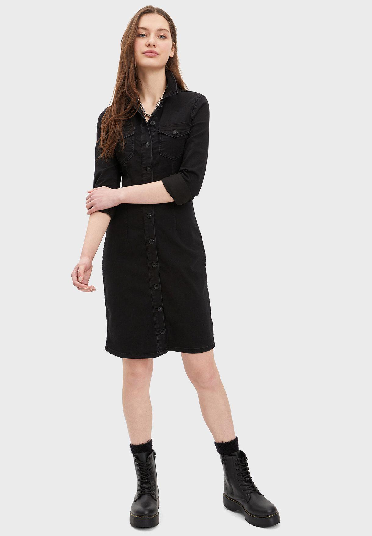 Button Down Denim Shirt Dress
