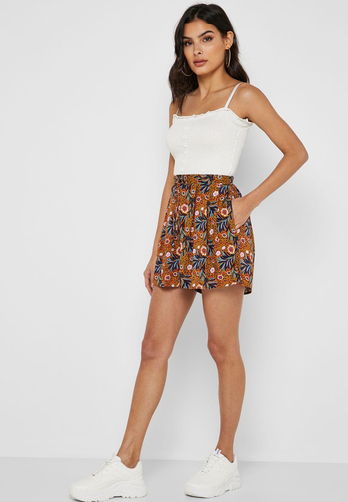 Boho Floral Print Shorts