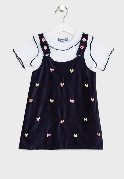 Detailed Top Embroidered Pinafore Dress