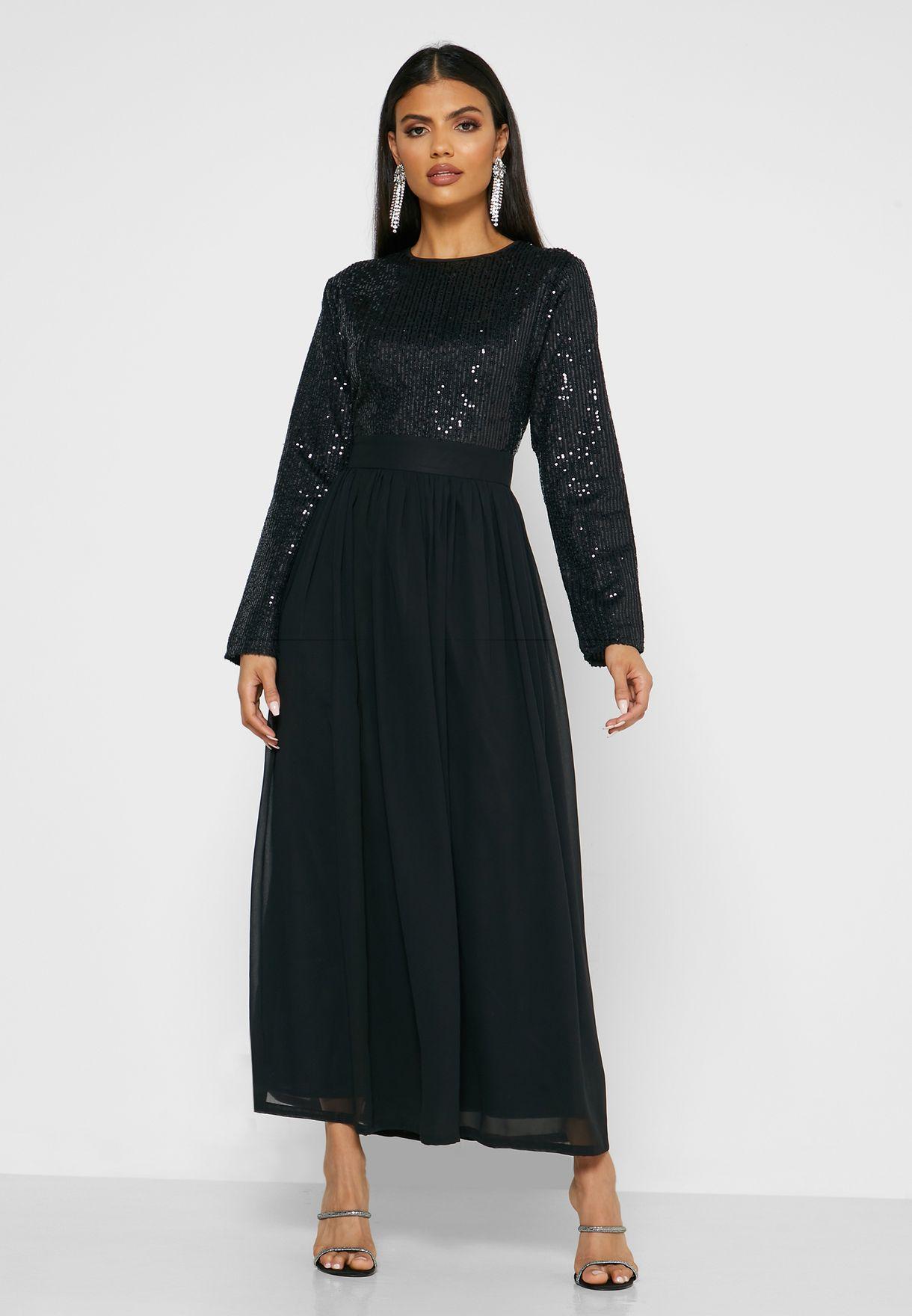 فستان ماكسي مرصع بالترتر