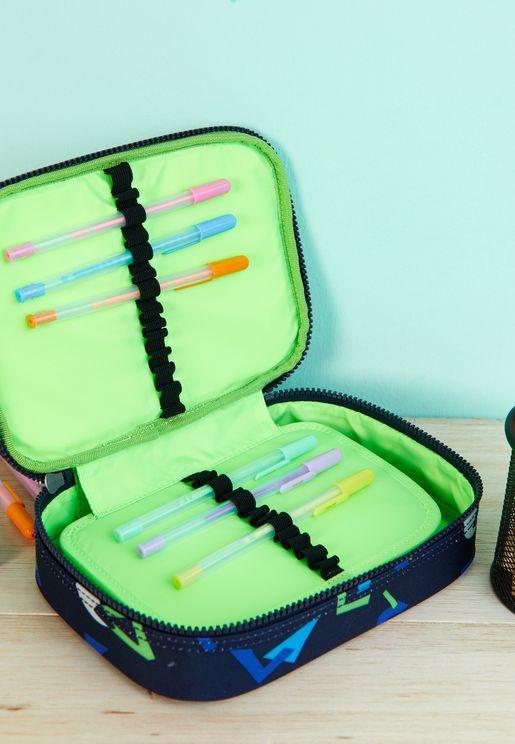 100 Large Geo Dark Pen Case