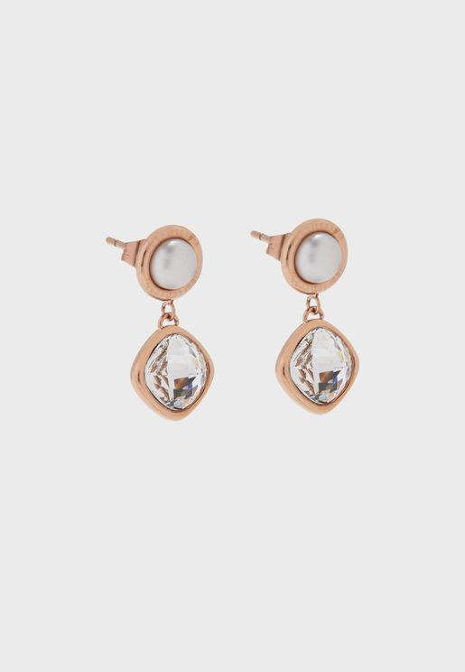 Square Swarovski Stone China Pearl Earrings