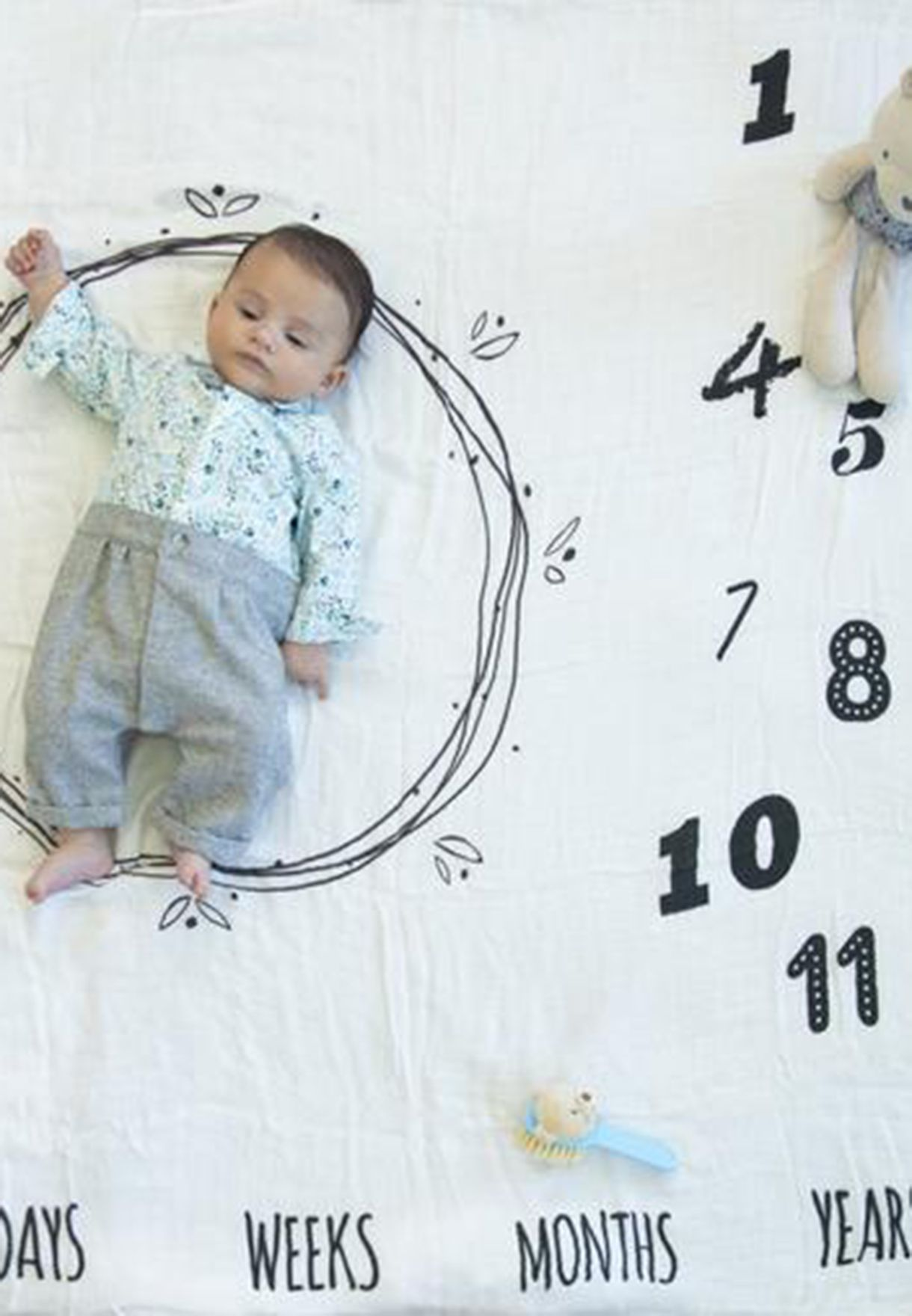 Organic Cotton Baby Milestone Blanket
