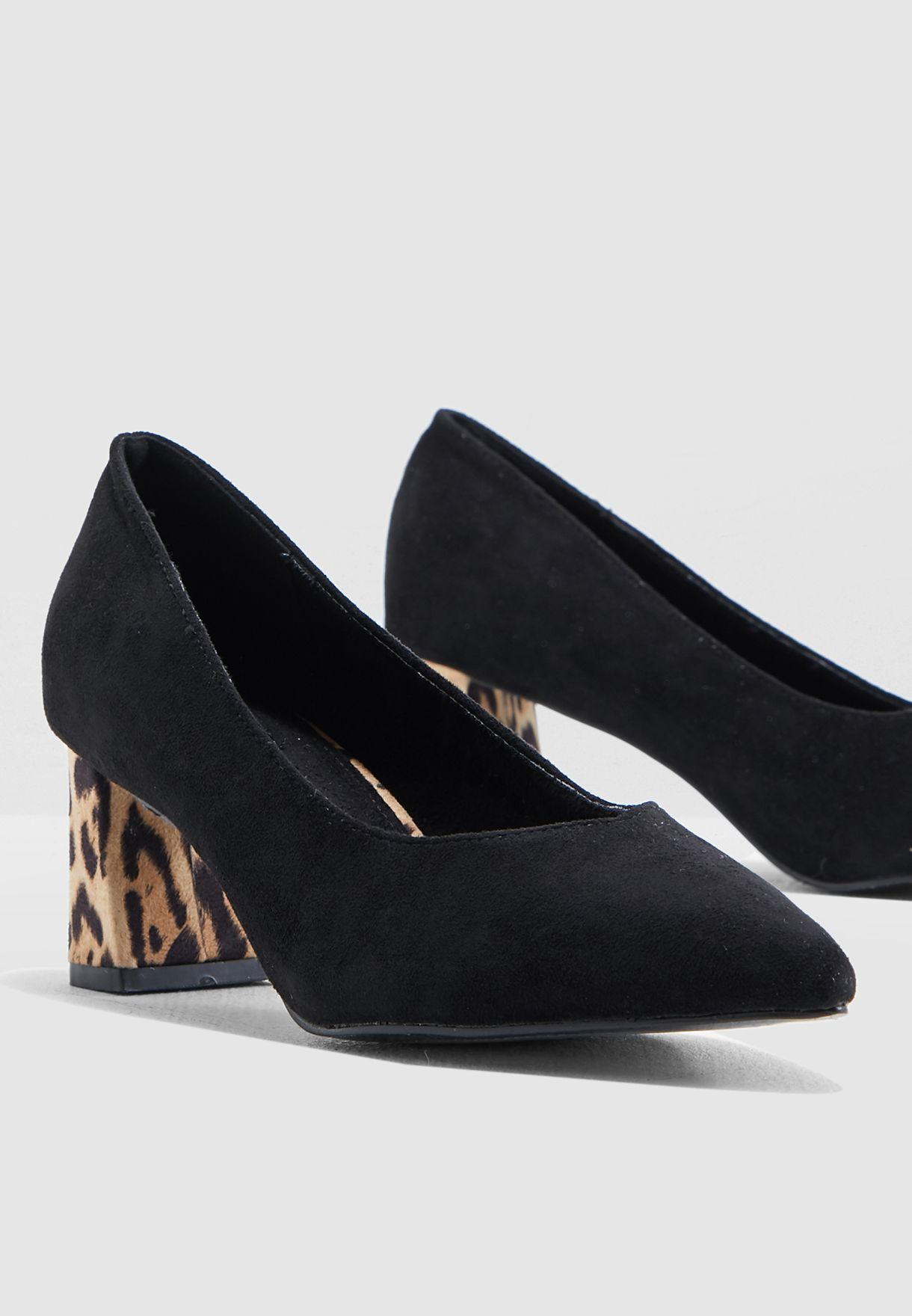 Buy Ella black Leopard Heel Pump for