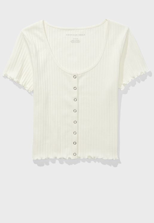 Scoop Neck Ribbed T-Shirt