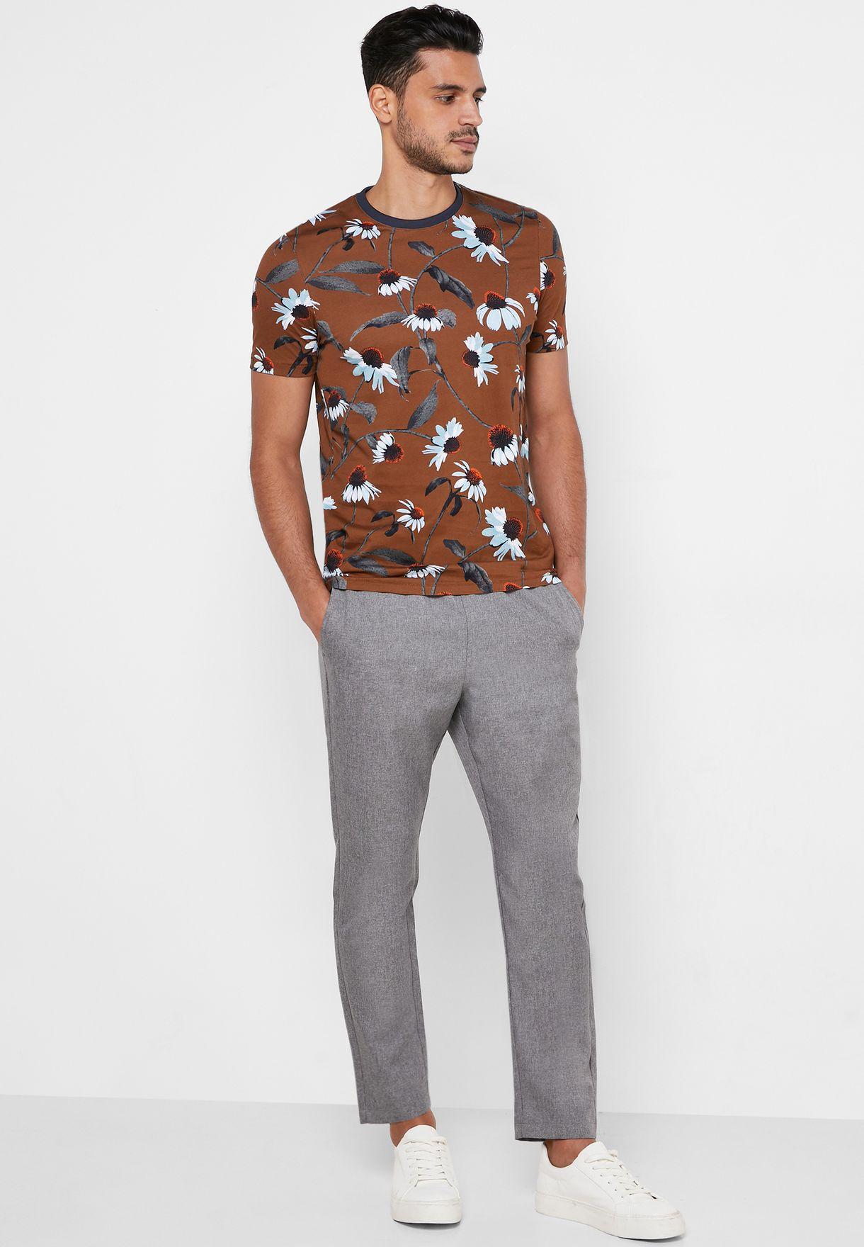 Flower print Crew Neck T-shirt