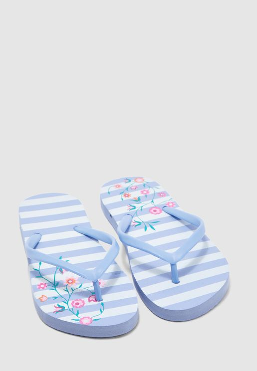 Stripe and floral printed flip flop