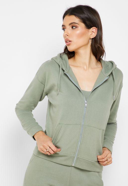 Full Zip Pocket Detail Hoodie