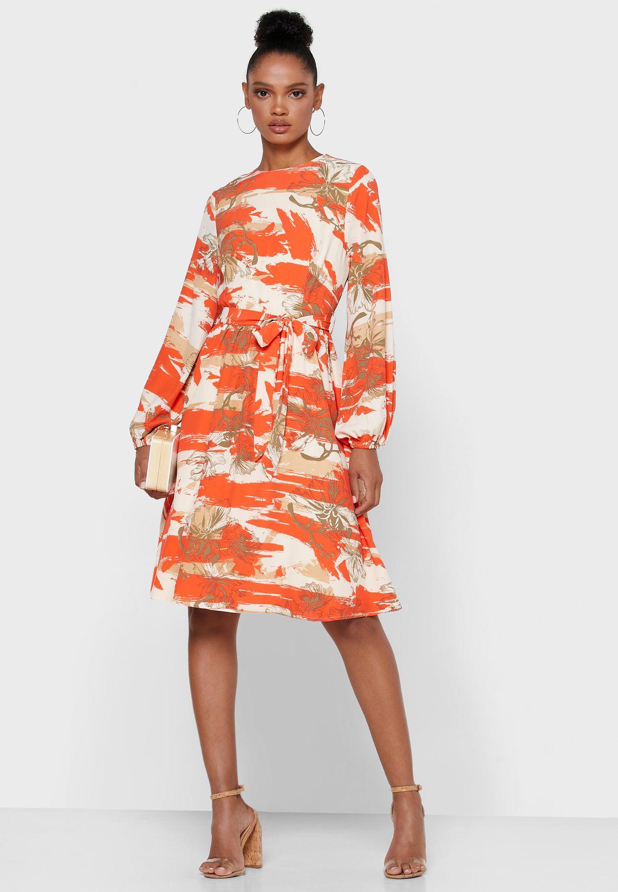 Floral Print Puffed Sleeve Self Tie Mini Dress