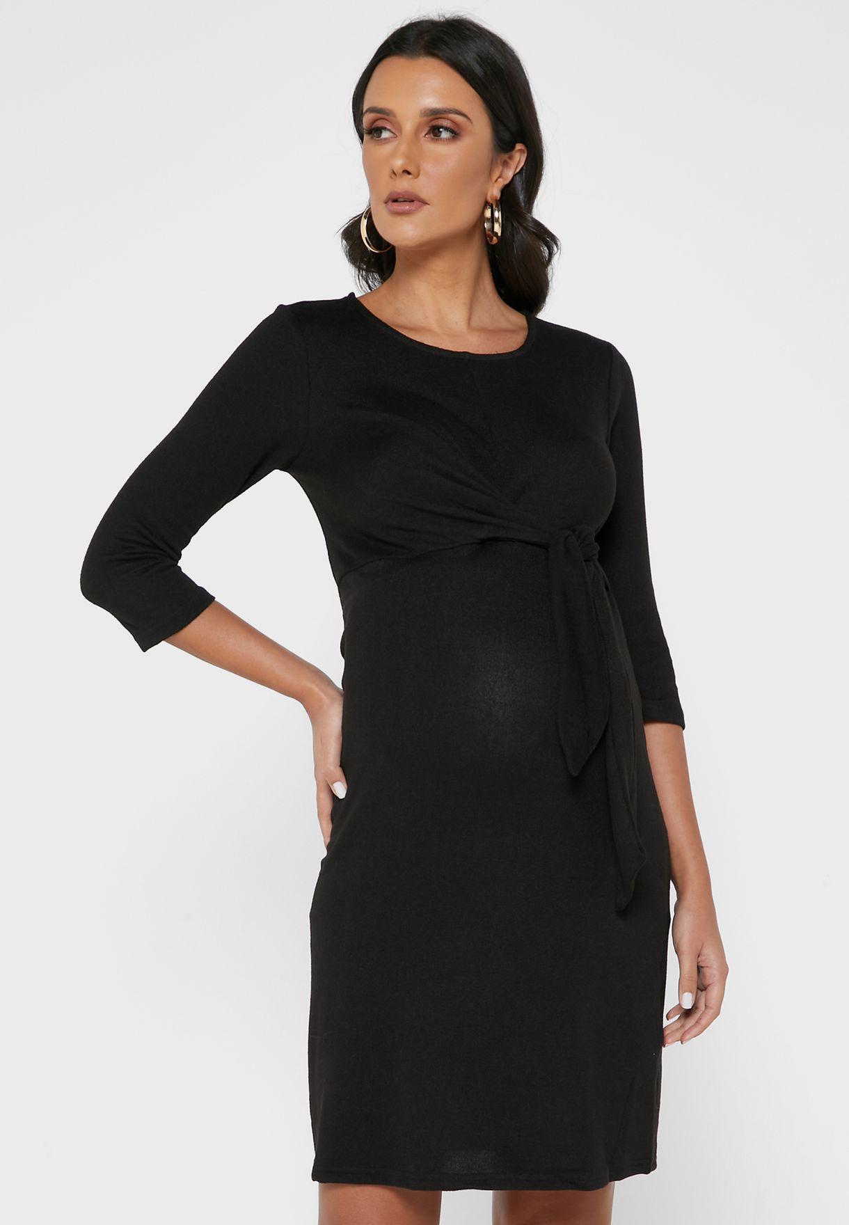 فستان جيرسيه بأربطة امامية