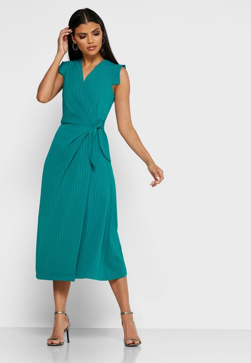 Ruffle Sleeve Wrap Dress