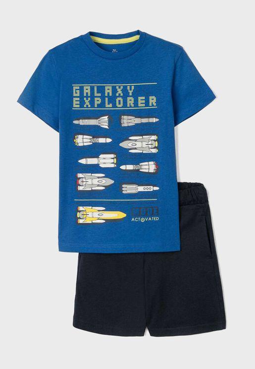 Kids Rocket Print T-Shirt + Shorts Set