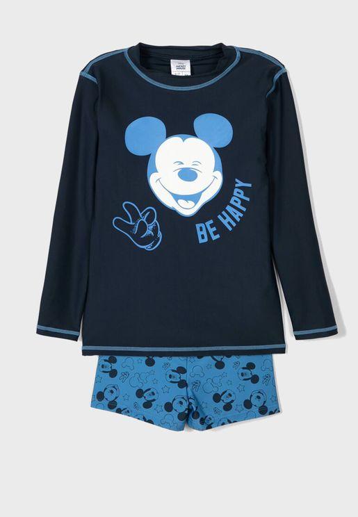 Kids Mickey T-Shirt + Shorts Set