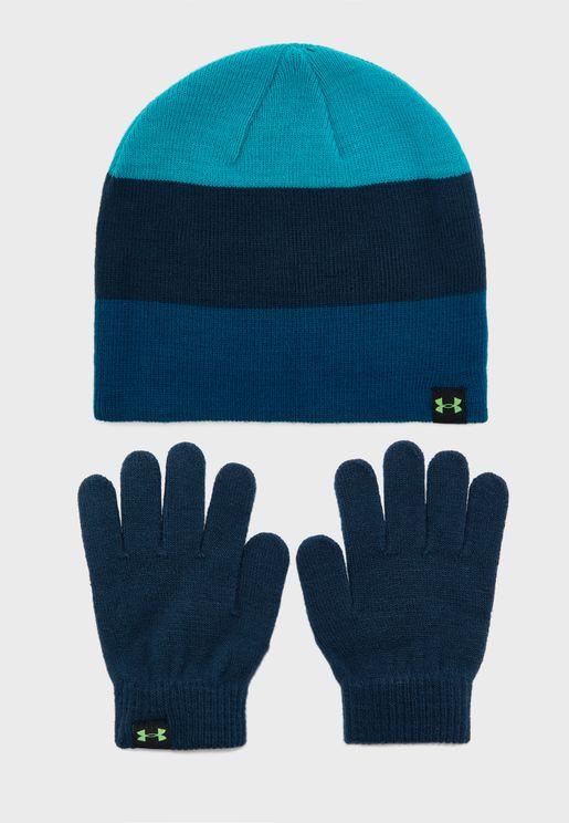 Colour Block Beanie Glove Set