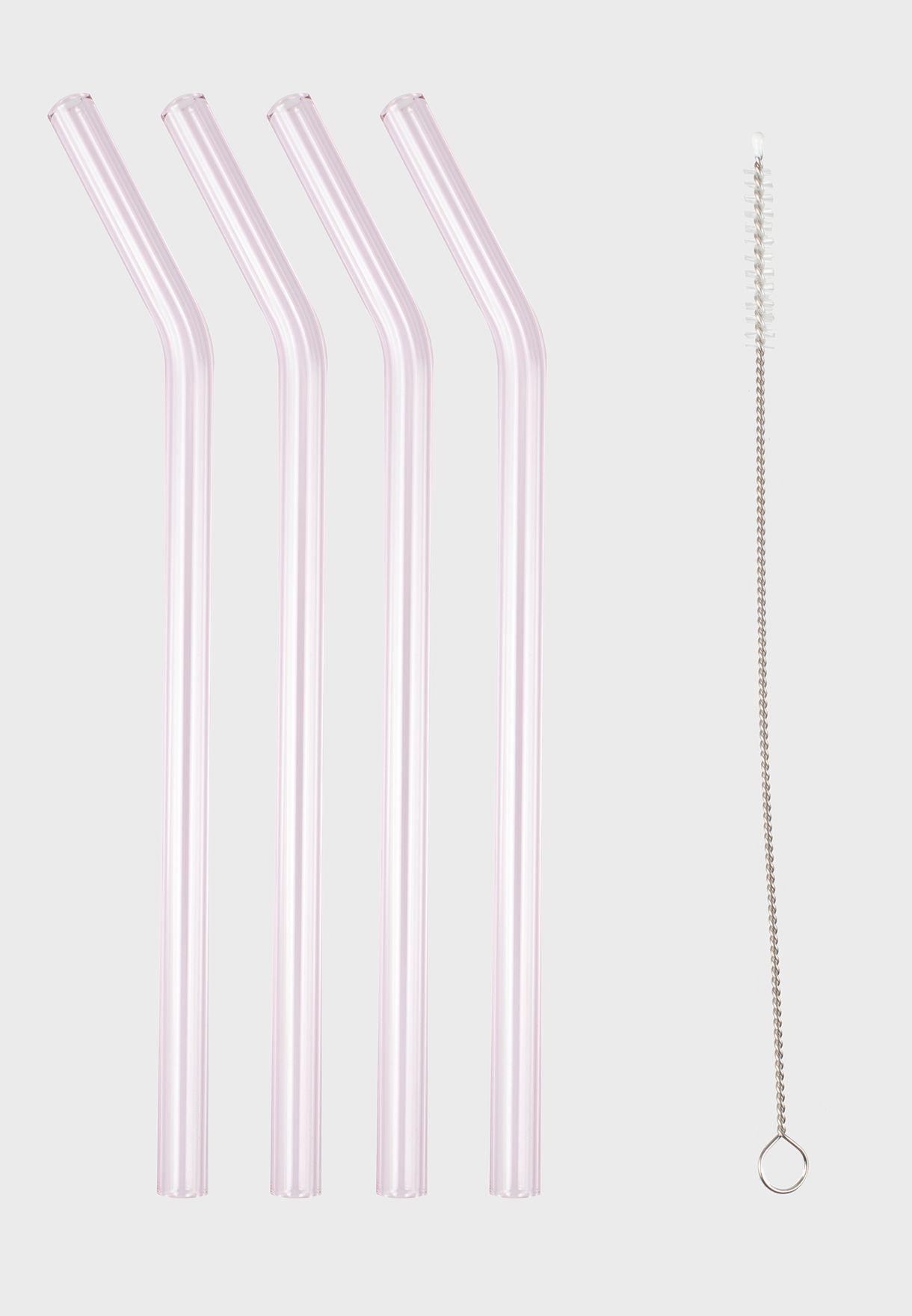 Pink And Purple Glass Straws