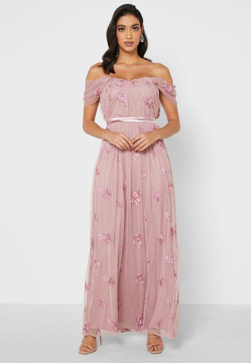 Safa Bardot Lace Detail Dress