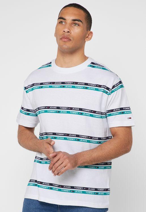 Signature Stripes Logo Crew Neck T-Shirt