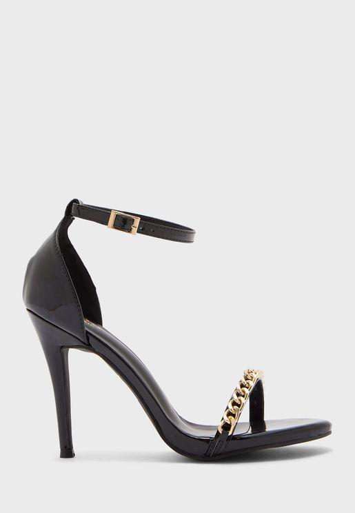 Chain Strap Round Toe Ankle Strap Sandal