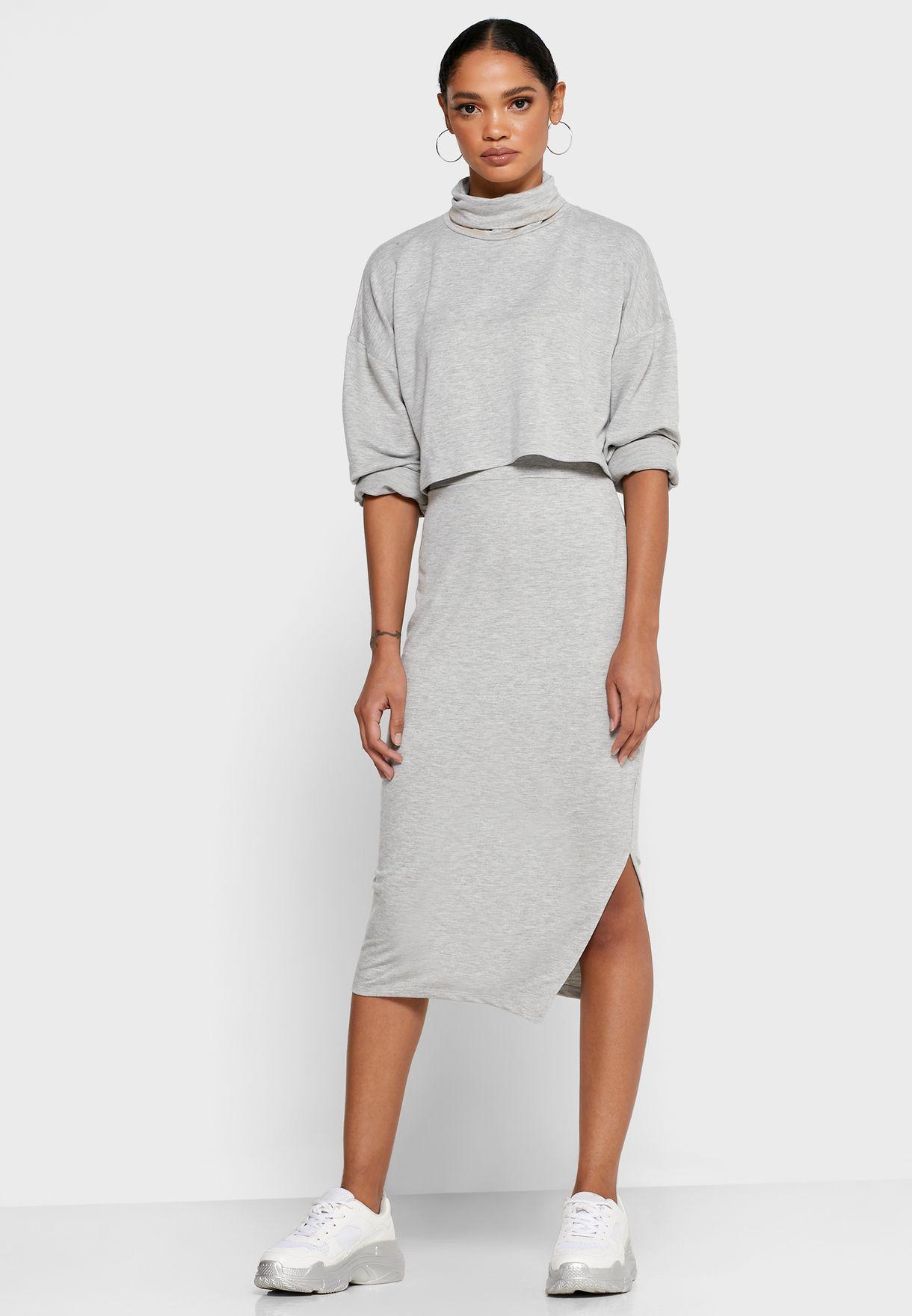 Crop Top Midi Skirt Set