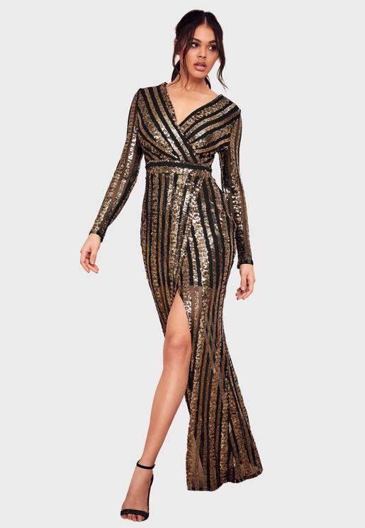 فستان بنمط لف مزين بترتر